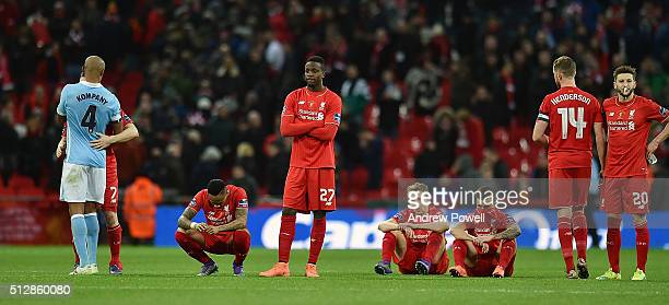 Jordan Henderson Philippe Coutinho Adam Lallana Lucas Leiva Divock Origi and Nathaniel Clyne of Liverpool dejected at the end of the Capital One Cup...