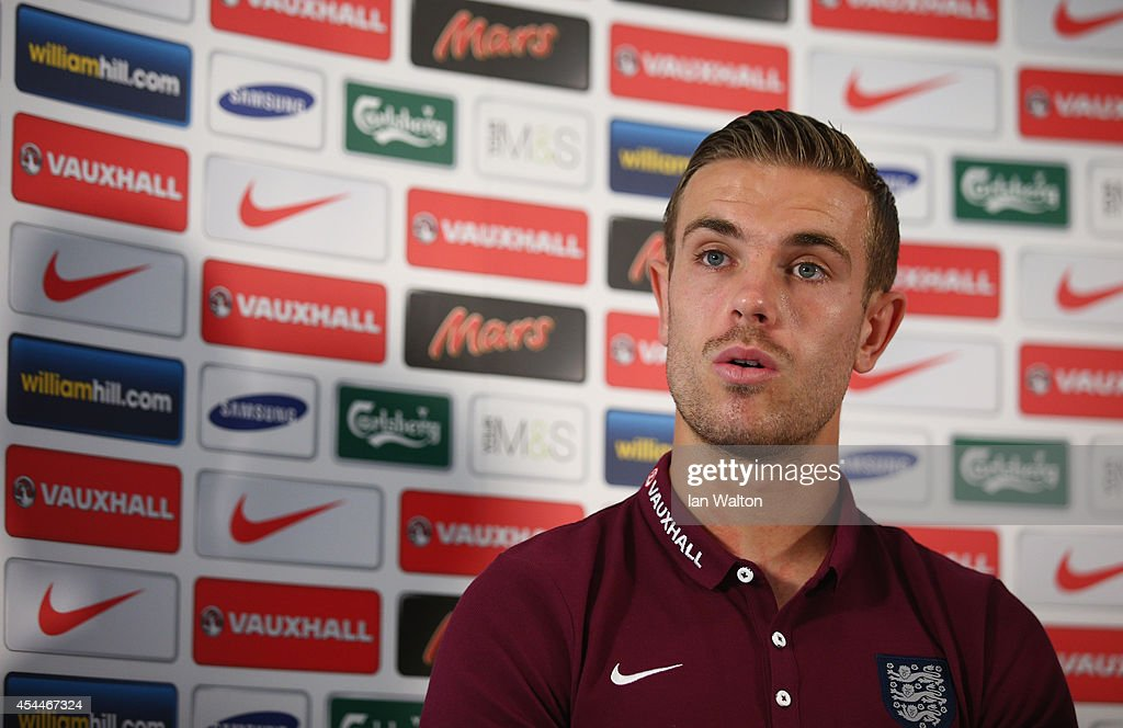 <a gi-track='captionPersonalityLinkClicked' href=/galleries/search?phrase=Jordan+Henderson&family=editorial&specificpeople=4940390 ng-click='$event.stopPropagation()'>Jordan Henderson</a> speaks to the press during a England Press Conference before the international friendly match against Norway at the Grove hotel on September 1, 2014 in London, England.