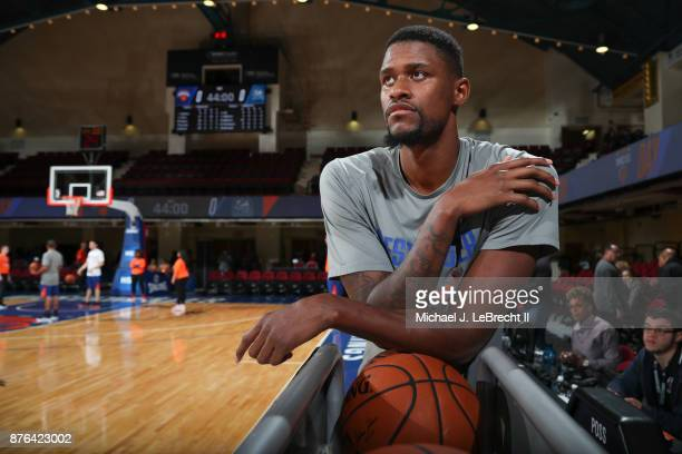 Jordan HenriquezRoberts looks on before the game between the Westchester Knicks Drives and the Lakeland Magic during an NBA GLeague game on November...