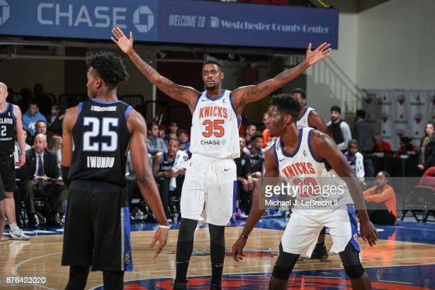 Jordan HenriquezRoberts of the Westchester Knicks Drives Defends against the Lakeland Magic during an NBA GLeague game on November 19 2017 at...