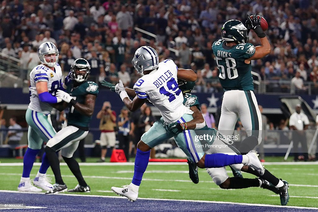 Jordan Hicks #58 of the Philadelphia Eagles intercepts a pass intended for Brice Butler #19 of the Dallas Cowboys in the second quarter during a game between the Dallas Cowboys and the Philadelphia Eagles at AT&T Stadium on October 30, 2016 in Arlington, Texas.