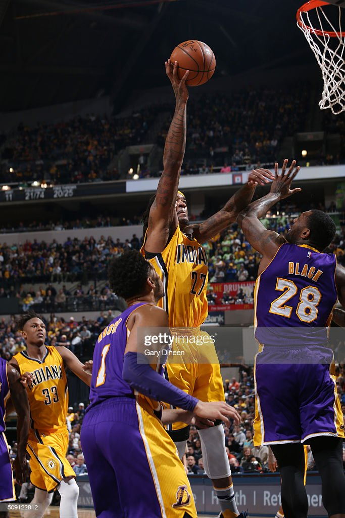 <a gi-track='captionPersonalityLinkClicked' href=/galleries/search?phrase=Jordan+Hill+-+Basketball+Player&family=editorial&specificpeople=13503530 ng-click='$event.stopPropagation()'>Jordan Hill</a> #27 of the Indiana Pacers shoots the ball against the Los Angeles Lakers on February 8, 2016 at Bankers Life Fieldhouse in Indianapolis, Indiana.