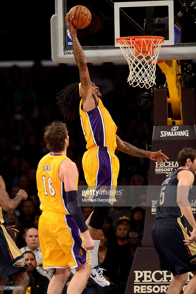 Jordan Hill #27 of the Los Angeles Lakers attempts a dunk during a game against the New Orleans Pelicans at Staples Center on November 12, 2013 in Los Angeles, California.