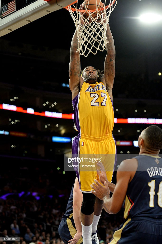 <a gi-track='captionPersonalityLinkClicked' href=/galleries/search?phrase=Jordan+Hill+-+Basketball+Player&family=editorial&specificpeople=13503530 ng-click='$event.stopPropagation()'>Jordan Hill</a> #27 of the Los Angeles Lakers attempts a dunk during a game against the New Orleans Pelicans at Staples Center on November 12, 2013 in Los Angeles, California.