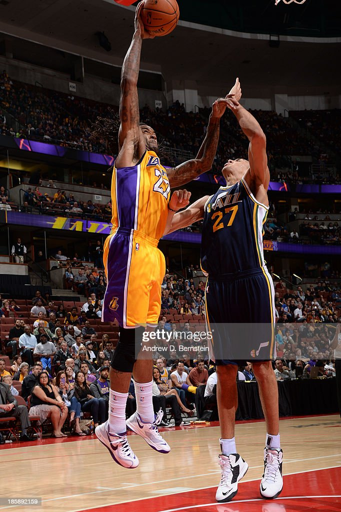 <a gi-track='captionPersonalityLinkClicked' href=/galleries/search?phrase=Jordan+Hill+-+Basketball+Player&family=editorial&specificpeople=13503530 ng-click='$event.stopPropagation()'>Jordan Hill</a> #27 of the Los Angeles Lakers attempts a shot against <a gi-track='captionPersonalityLinkClicked' href=/galleries/search?phrase=Rudy+Gobert&family=editorial&specificpeople=7616046 ng-click='$event.stopPropagation()'>Rudy Gobert</a> #27 of the Utah Jazz during a preseason game at the Honda Center in Anaheim, California on October 25, 2013.