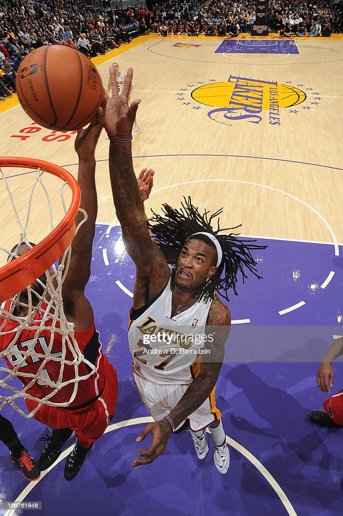 <a gi-track='captionPersonalityLinkClicked' href=/galleries/search?phrase=Jordan+Hill+-+Basketball+Player&family=editorial&specificpeople=13503530 ng-click='$event.stopPropagation()'>Jordan Hill</a> #27 of the Los Angeles Lakers attempts a shot during a game against the Atlanta Hawks on November 3, 2013 at STAPLES Center in Los Angeles, California.