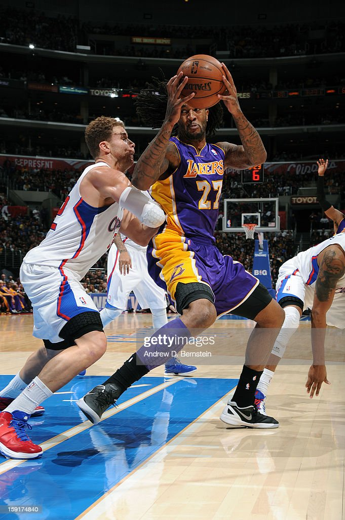 Jordan Hill #27 of the Los Angeles Lakers backs up Blake Griffin #32 of the Los Angeles Clippers at Staples Center on January 4, 2013 in Los Angeles, California.