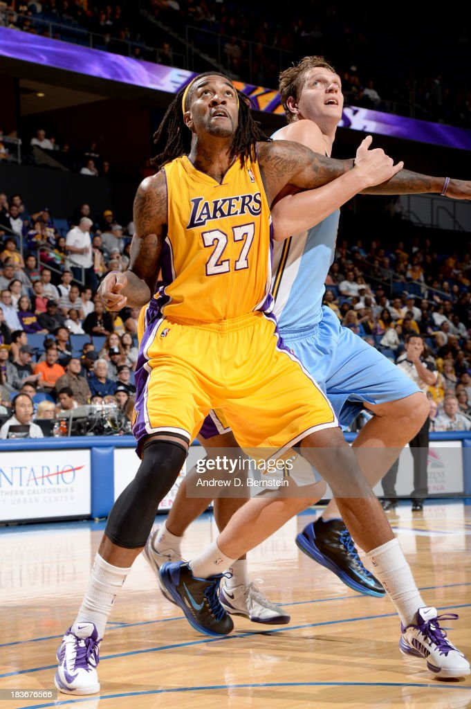 <a gi-track='captionPersonalityLinkClicked' href=/galleries/search?phrase=Jordan+Hill+-+Basketball+Player&family=editorial&specificpeople=13503530 ng-click='$event.stopPropagation()'>Jordan Hill</a> #27 of the Los Angeles Lakers battles for position against the Denver Nuggets at Citizens Business Bank Arena on October 8, 2013 in Ontario, California.