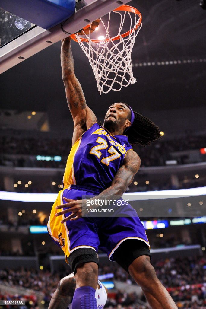 Jordan Hill #27 of the Los Angeles Lakers dunks against the Los Angeles Clippers at Staples Center on January 4, 2013 in Los Angeles, California.