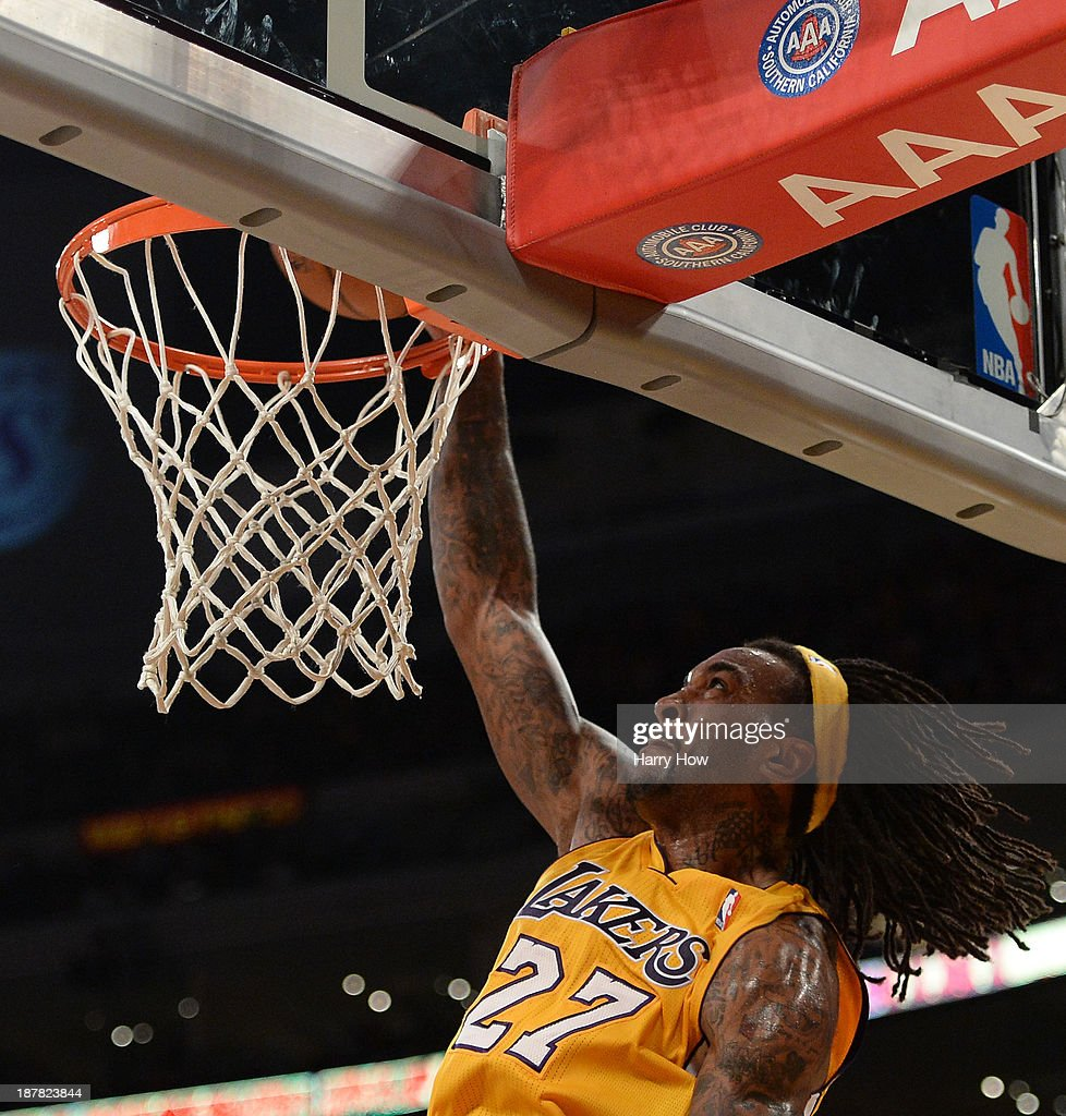Jordan Hill #27 of the Los Angeles Lakers dunks against the New Orleans Pelicans during a 116-95 Laker win at Staples Center on November 12, 2013 in Los Angeles, California.