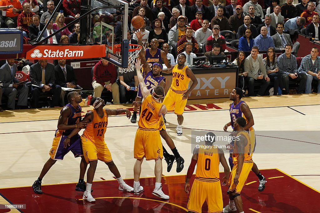 Jordan Hill #27 of the Los Angeles Lakers puts up a shot against the Cleveland Cavaliers at The Quicken Loans Arena on December 11, 2012 in Cleveland, Ohio.