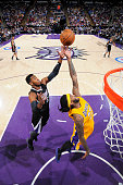 Jordan Hill of the Los Angeles Lakers rebounds against Jason Thompson of the Sacramento Kings on April 13 2015 at Sleep Train Arena in Sacramento...