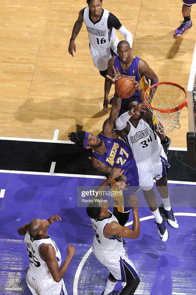 <a gi-track='captionPersonalityLinkClicked' href=/galleries/search?phrase=Jordan+Hill+-+Basketball+Player&family=editorial&specificpeople=13503530 ng-click='$event.stopPropagation()'>Jordan Hill</a> #27 of the Los Angeles Lakers rebounds against Jason Thompson #34 of the Sacramento Kings on April 2, 2014 at Sleep Train Arena in Sacramento, California.