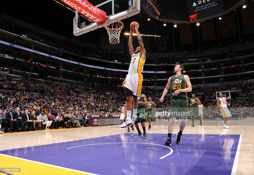 Jordan Hill #27 of the Los Angeles Lakers rises for a dunk against the Utah Jazz at Staples Center on December 9, 2012 in Los Angeles, California.