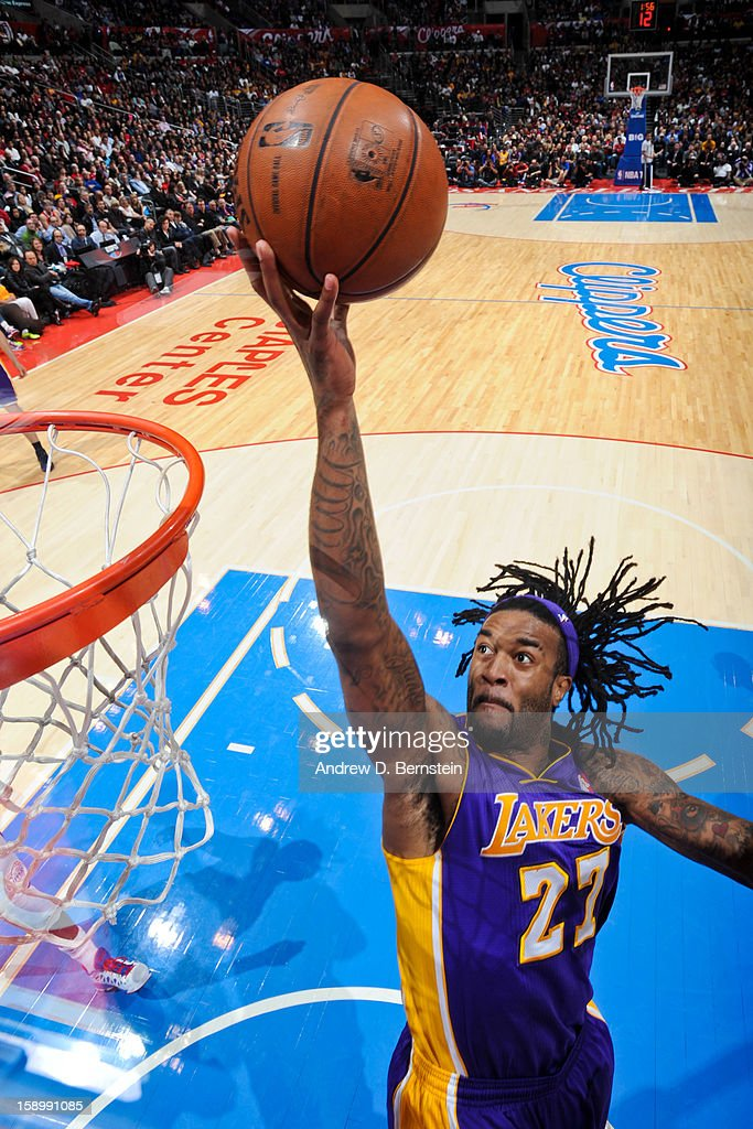 Jordan Hill #27 of the Los Angeles Lakers shoots a layup against the Los Angeles Clippers at Staples Center on January 4, 2013 in Los Angeles, California.