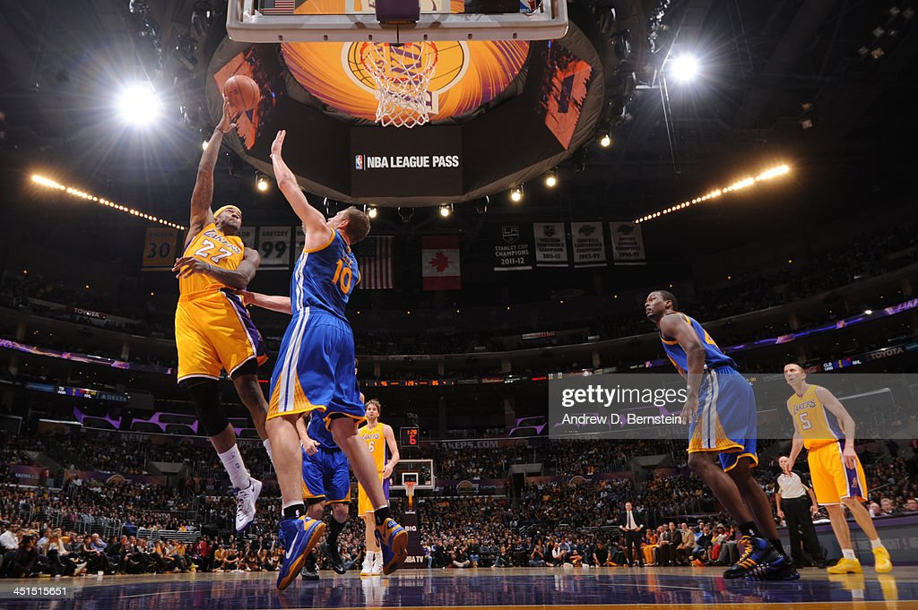 <a gi-track='captionPersonalityLinkClicked' href=/galleries/search?phrase=Jordan+Hill+-+Basketball+Player&family=editorial&specificpeople=13503530 ng-click='$event.stopPropagation()'>Jordan Hill</a> #27 of the Los Angeles Lakers shoots against David Lee #10 of the Golden State Warriors on November 22, 2013 at STAPLES Center in Los Angeles, California.