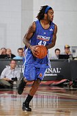 Jordan Hill of the New York Knicks drives the ball up court during the game against the Memphis Grizzlies during the NBA Summer League presented by...