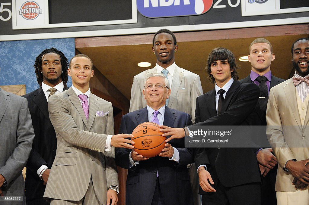 Jordan Hill Stephen Curry Hasheem Thabeet NBA Commissioner David Stern Ricky Rubio Blake Griffin and James Harden pose for a portrait during the 2009...