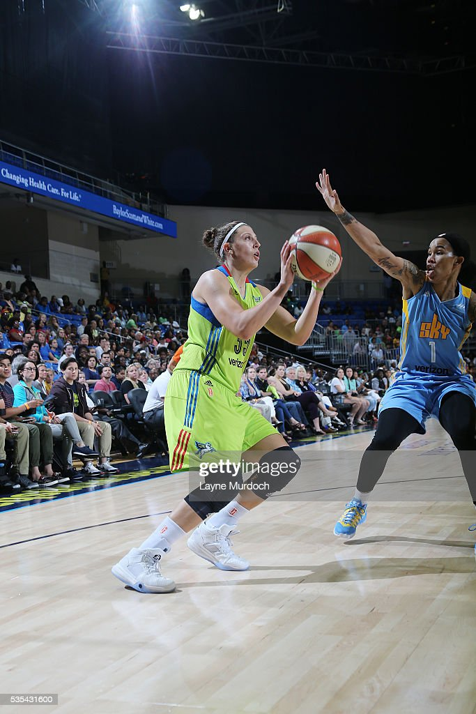 Jordan Hooper #35 of the Dallas Wings handles the ball against the Chicago Sky on May 29, 2016 at College Park Center in Arlington, Texas.