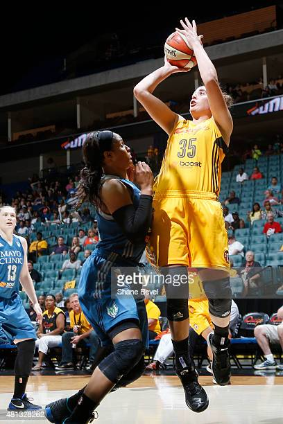 Jordan Hooper of the Tulsa Shock takes a shot against the Minnesota Lynx on July 19 2015 at the BOK Center in Tulsa Oklahoma NOTE TO USER User...