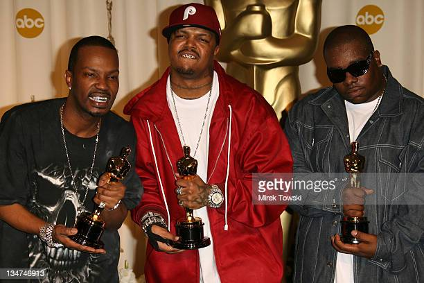 """Jordan Houston Paul Beauregard and Cedric Coleman of Three 6 Mafia winners Best Song for """"It's Hard Out Here for a Pimp"""" from """"Hustle Flow"""""""