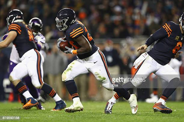 Jordan Howard of the Chicago Bears carries the ball during the second half against the Minnesota Vikings at Soldier Field on October 31 2016 in...