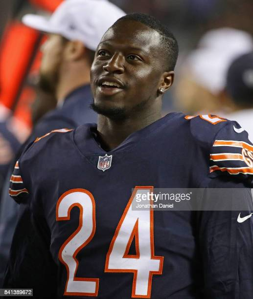 Jordan Howard of the Chicago Bears is seen on the sidelines during a preseason game against the Cleveland Browns at Soldier Field on August 31 2017...