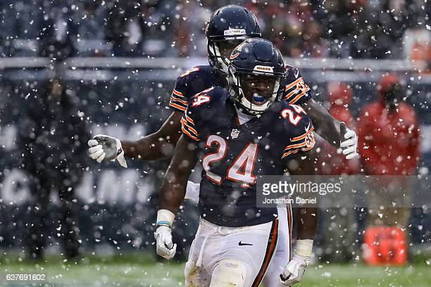 Jordan Howard of the Chicago Bears reacts after scoring in the third quarter against the San Francisco 49ers at Soldier Field on December 4 2016 in...
