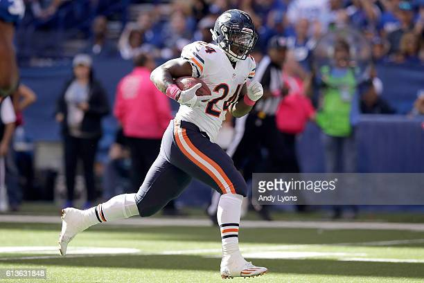 Jordan Howard of the Chicago Bears runs the ball into the endzone for a touchdown during the game against the Indianapolis Colts at Lucas Oil Stadium...