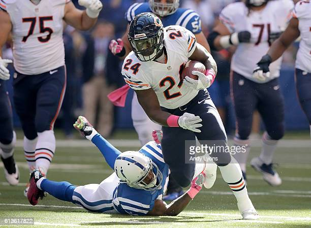 Jordan Howard of the Chicago Bears runs with the ball during the first quarter of the game against the Indianapolis Colts at Lucas Oil Stadium on...