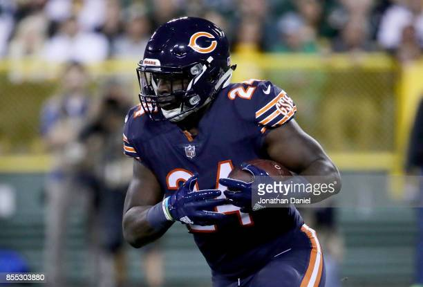 Jordan Howard of the Chicago Bears runs with the ball in the first quarter against the Green Bay Packers at Lambeau Field on September 28 2017 in...