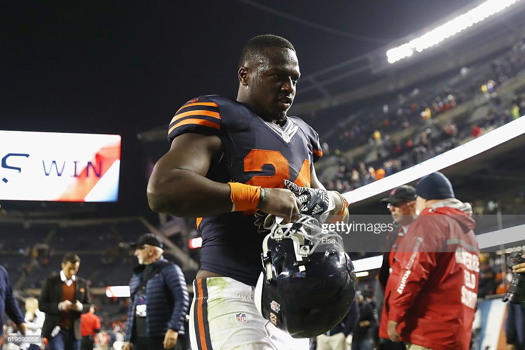 Jordan Howard #24 of the Chicago Bears walks off the field after the Chicago Bears defeated the Minnesota Vikings 20-10 at Soldier Field on October 31, 2016 in Chicago, Illinois.