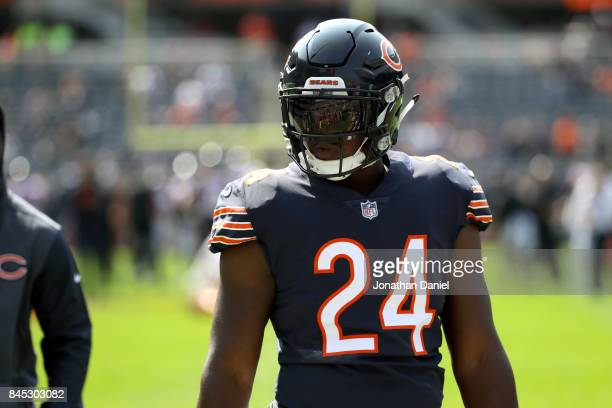 Jordan Howard of the Chicago Bears warms up prior to the game against the Atlanta Falcons at Soldier Field on September 10 2017 in Chicago Illinois