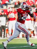 Jordan Howard of the Indiana Hoosiers catches a pass against the Iowa Hawkeyes at Memorial Stadium on November 7 2015 in Bloomington Indiana Iowa...