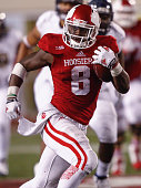 Jordan Howard of the Indiana Hoosiers runs the ball against the Fiu Golden Panthers at Memorial Stadium on September 12 2015 in Bloomington Indiana...