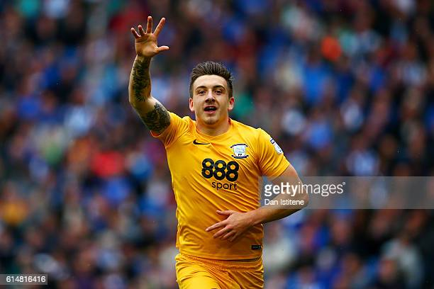 Jordan Hugill of Preston North End celebrates scoring the opening goal during the Sky Bet Championship match between Brighton Hove Albion and Preston...
