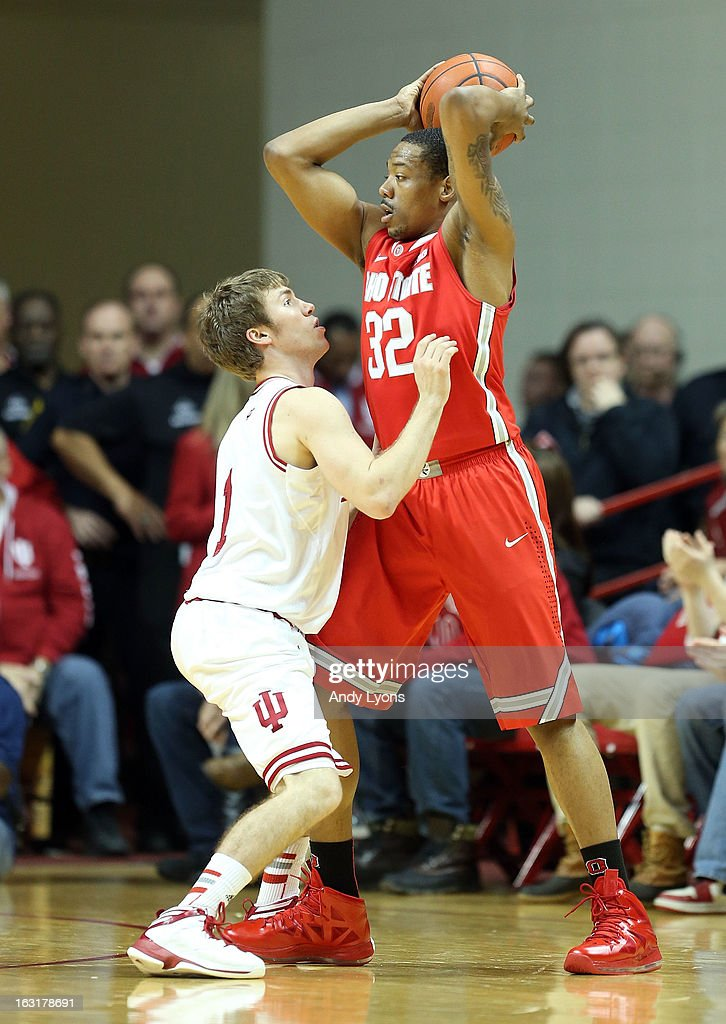 Jordan Hulls #1 of the Indiana Hoosiers defends Lenzelle Smith #32 of the Ohio State Buckeyes during the game at Assembly Hall on March 5, 2013 in Bloomington, Indiana.