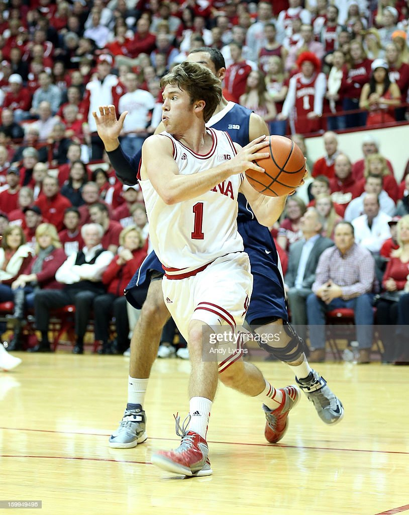Jordan Hulls #1 of the Indiana Hoosiers dribbles the ball during the game against the Penn State Nittany Lions at Assembly Hall on January 23, 2013 in Bloomington, Indiana.