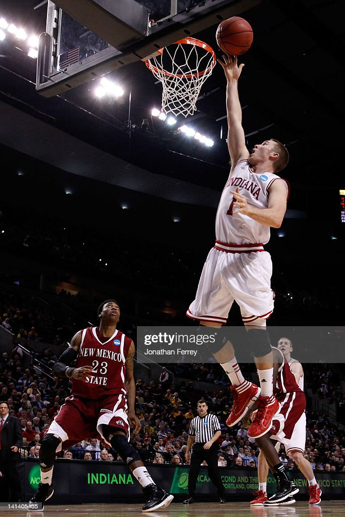 Jordan Hulls #1 of the Indiana Hoosiers lays the ball up in the second half while taking on the New Mexico State Aggies in the second round of the 2012 NCAA men's basketball tournament at Rose Garden Arena on March 15, 2012 in Portland, Oregon.