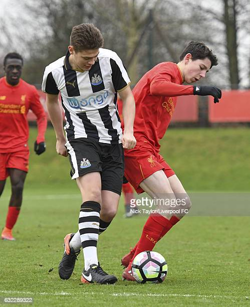 Jordan Hunter of Liverpool and Lewis McNall of Newcastle United in action during the Liverpool v Newcastle United U18 Premier League game at The...