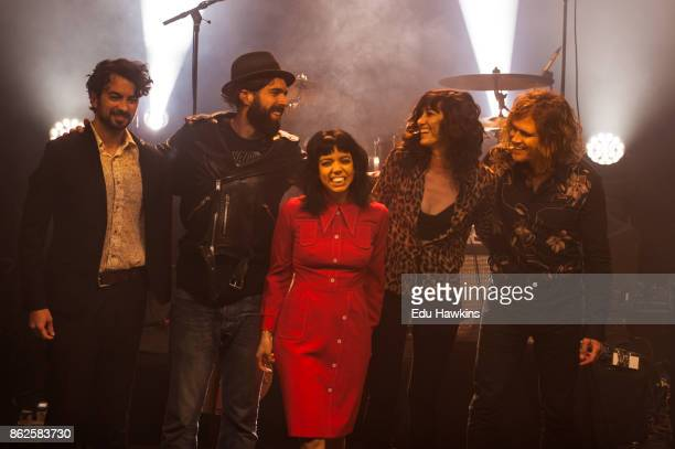 Jordan Hyde David Jamison Alynda Seggara and Caitlin Gray of Hurray for the Riff Raff take a bow on stage at KOKO following their set on October 17...