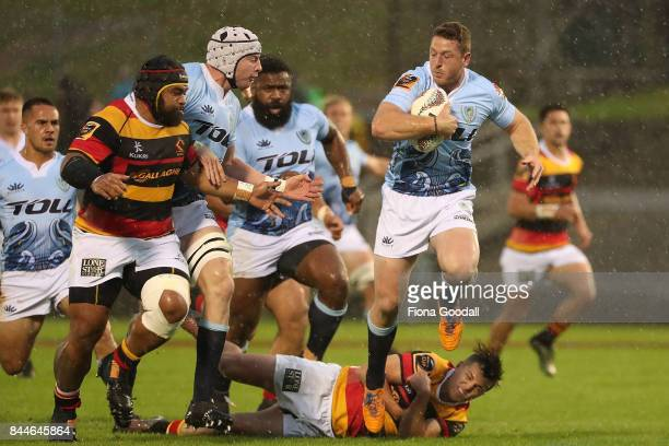 Jordan Hyland of Northland gets through tackles during the round four Mitre 10 Cup match between Northland and Waikato at Toll Stadium on September 9...