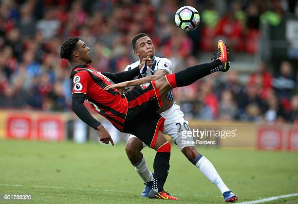 Jordan Ibe of AFC Bournemouth and Brendan Galloway of West Bromwich Albion battle for possession during the Premier League match between AFC...