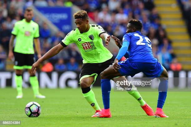 Jordan Ibe of AFC Bournemouth and Wilfred Ndidi of Leicester City clash during the Premier League match between Leicester City and AFC Bournemouth at...