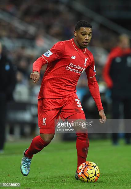 Jordan Ibe of Liverpool during the Barclays Premier League match between Newcastle United and Liverpool at St James' Park on December 6 2015 in...