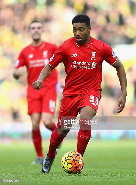Jordan Ibe of Liverpool in action during the Barclays Premier League match between Norwich City and Liverpool at Carrow Road on January 23 2016 in...