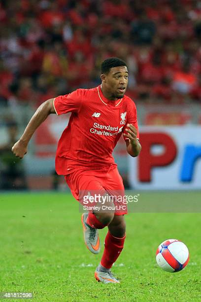 Jordan Ibe of Liverpool in action during the international friendly match between Malaysia XI and Liverpool FC at Bukit Jalil National Stadium on...