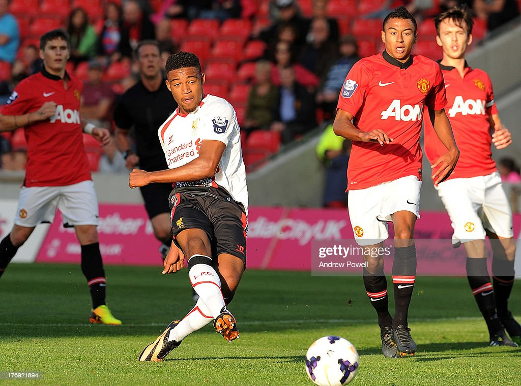 Jordan Ibe of Liverpool scores an equliser during the Barclays U21s Premier League match between Manchester United U21 and Liverpool U21 at Salford City Stadium on August 19, 2013 in Salford, England.