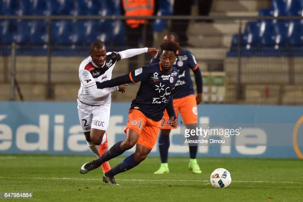 Jordan Ikoko of Guingamp and Isaac Mbenza of Montpellier during the French Ligue 1 match between Montpellier and Guingamp at Stade de la Mosson on...