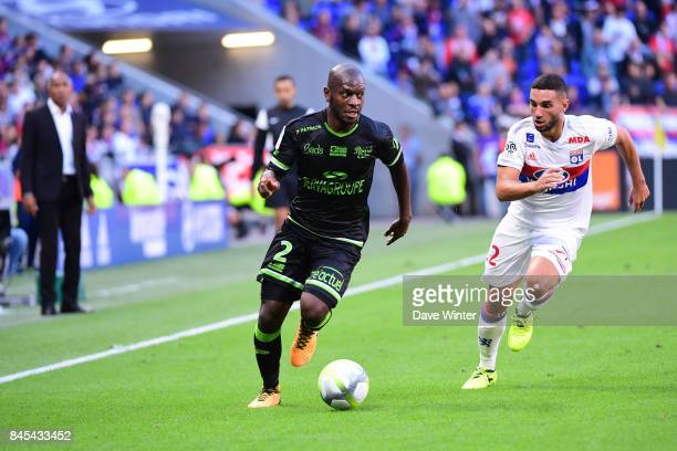 Jordan Ikoko of Guingamp and Jordan Ferri of Lyon during the Ligue 1 match between Olympique Lyonnais and EA Guingamp at Parc Olympique on September...